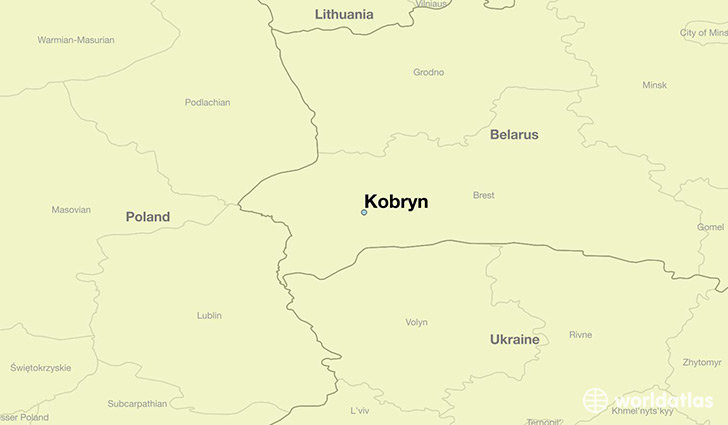 map showing the location of Kobryn