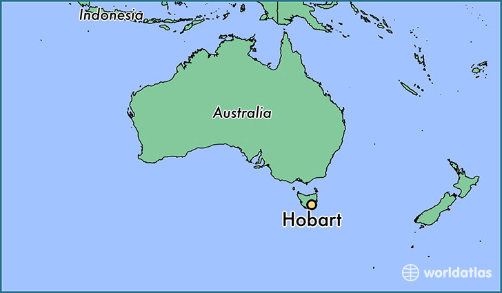 map showing the location of Hobart