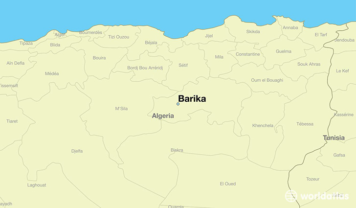 map showing the location of Barika