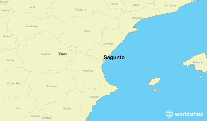 map showing the location of Sagunto