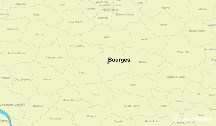 map showing the location of Bourges