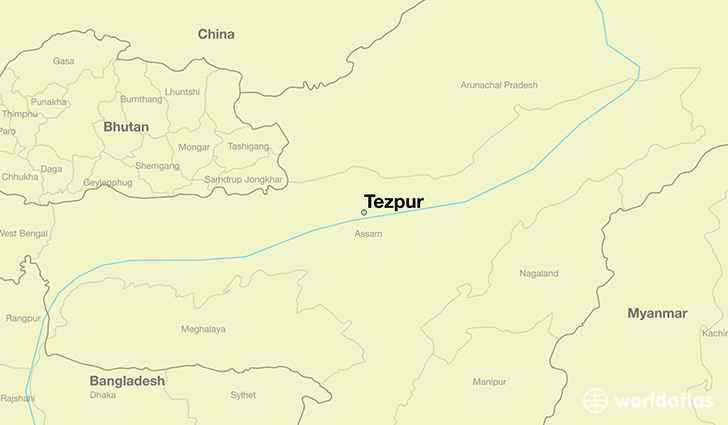 map showing the location of Tezpur