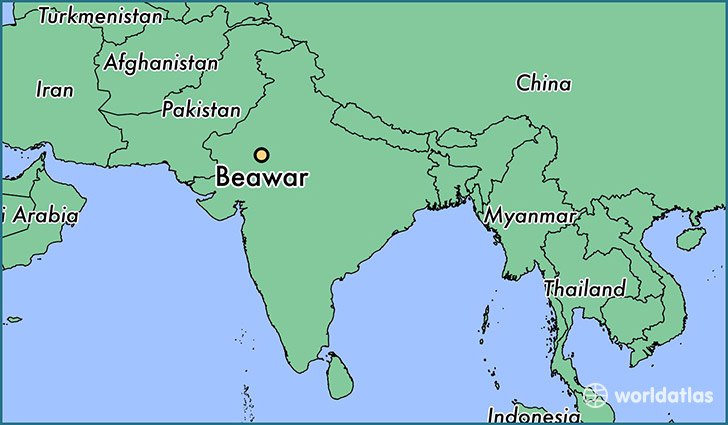 map showing the location of Beawar