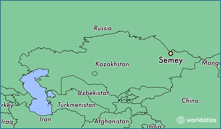 map showing the location of Semey