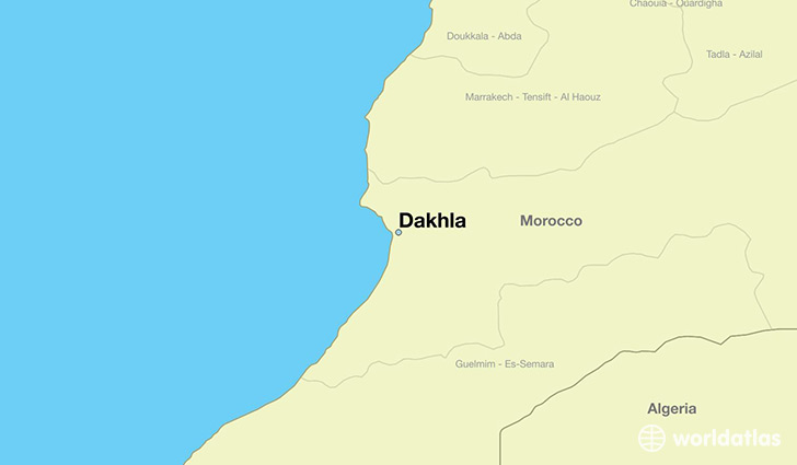 map showing the location of Dakhla