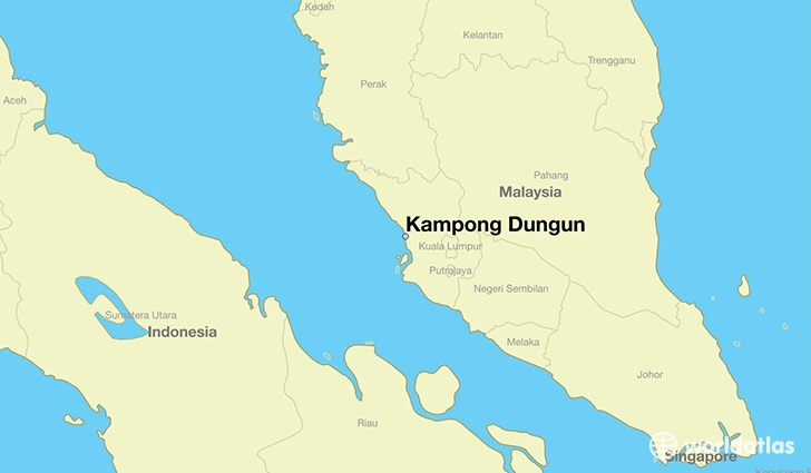 map showing the location of Kampong Dungun