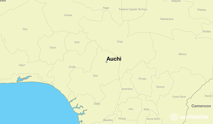 map showing the location of Auchi