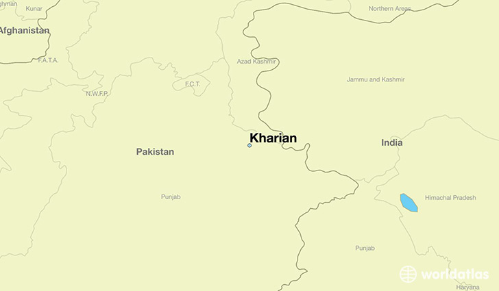 map showing the location of Kharian