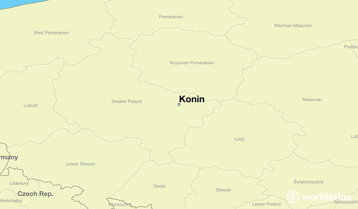map showing the location of Konin