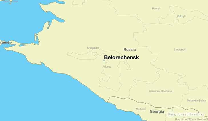 map showing the location of Belorechensk