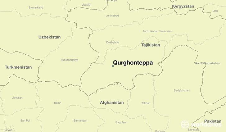 map showing the location of Qurghonteppa