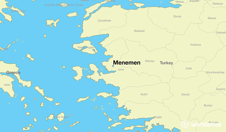 map showing the location of Menemen