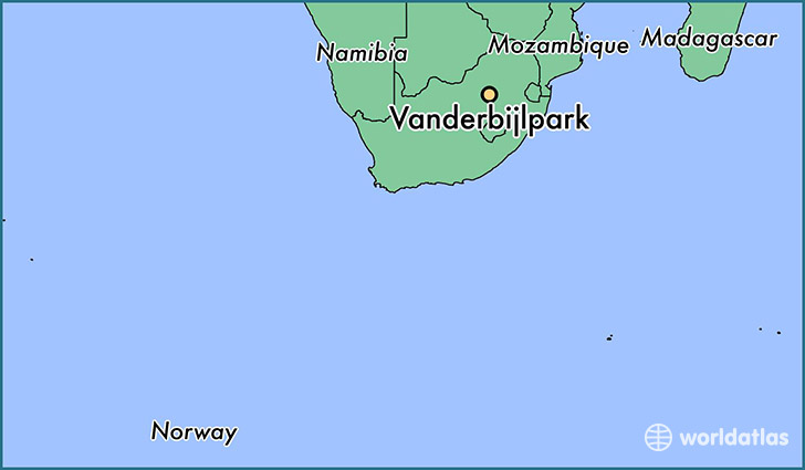 map showing the location of Vanderbijlpark