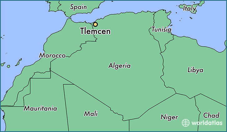 map showing the location of Tlemcen