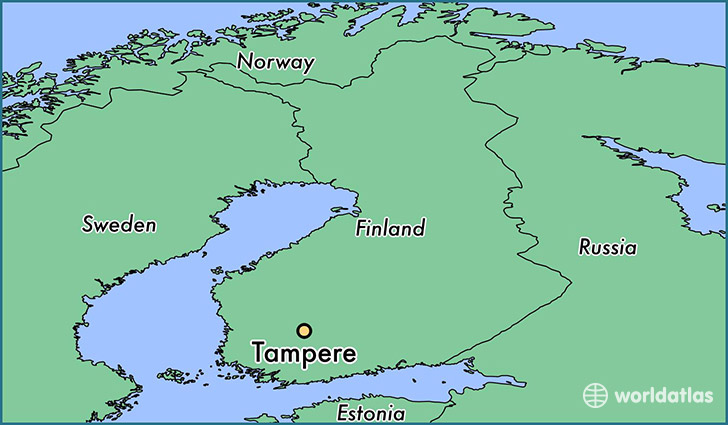 map showing the location of Tampere