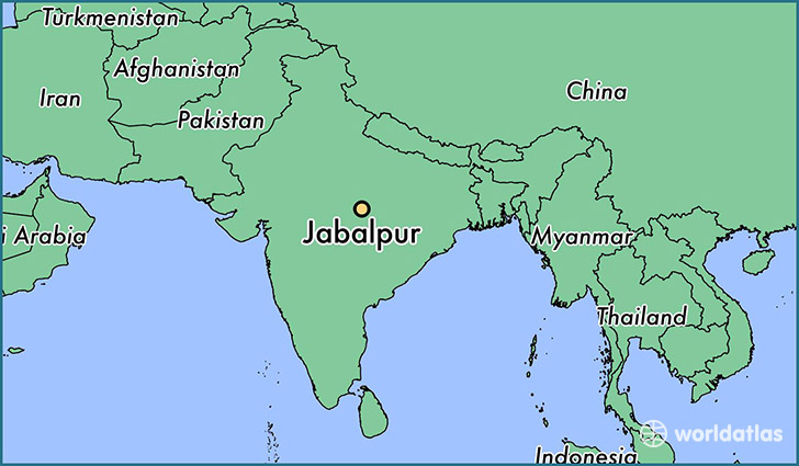 map showing the location of Jabalpur