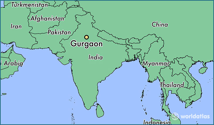 map showing the location of Gurgaon