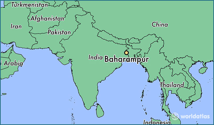 map showing the location of Baharampur