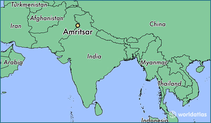 map showing the location of Amritsar