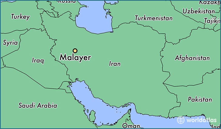 map showing the location of Malayer
