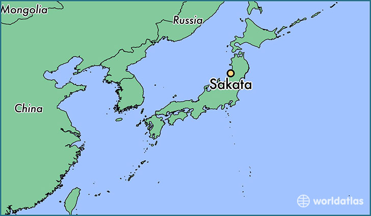 map showing the location of Sakata