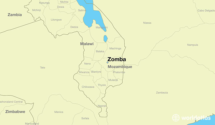 map showing the location of Zomba