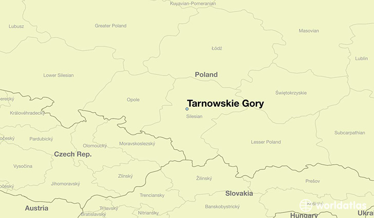 map showing the location of Tarnowskie Gory
