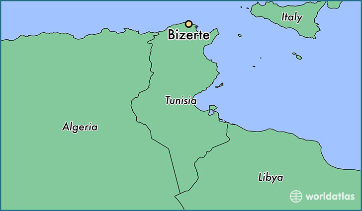 map showing the location of Bizerte