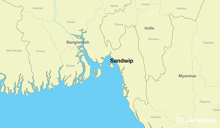 map showing the location of Sandwip