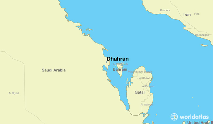 map showing the location of Dhahran
