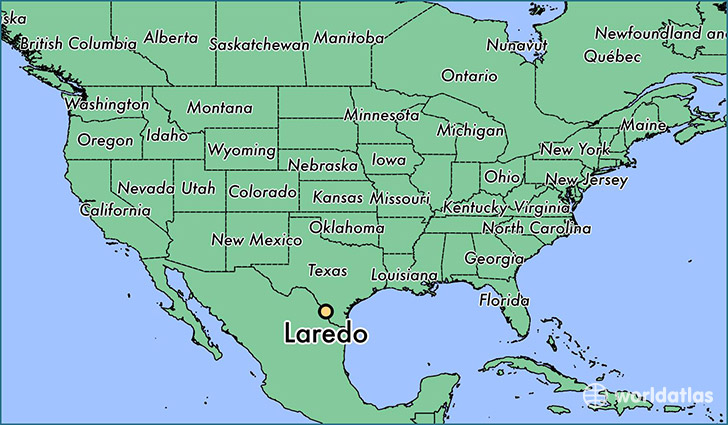 map showing the location of Laredo