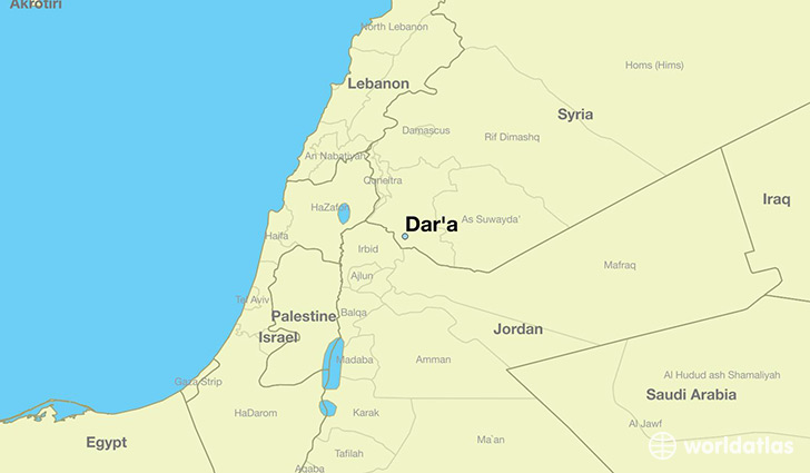 map showing the location of Dar'a