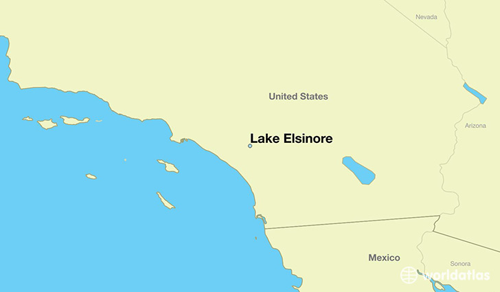map showing the location of Lake Elsinore