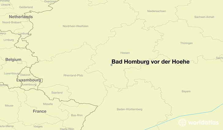 map showing the location of Bad Homburg vor der Hoehe