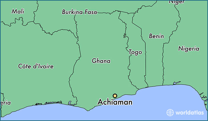 map showing the location of Achiaman