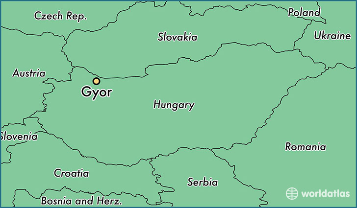 map showing the location of Gyor