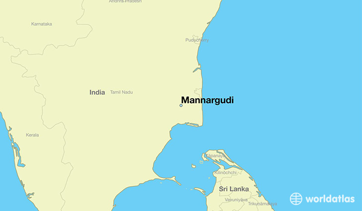 map showing the location of Mannargudi