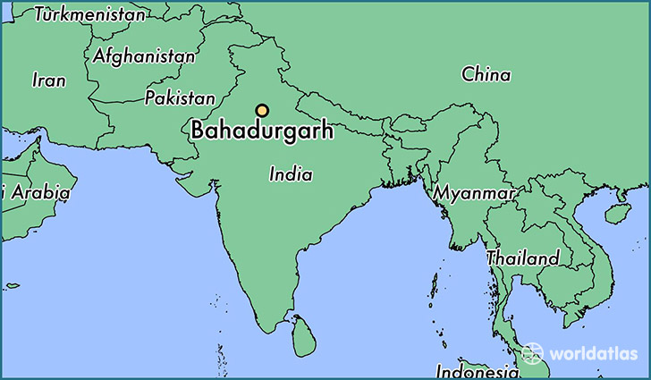 map showing the location of Bahadurgarh