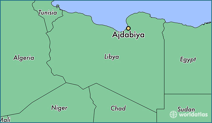 map showing the location of Ajdabiya