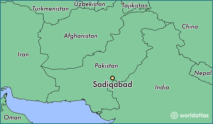 map showing the location of Sadiqabad