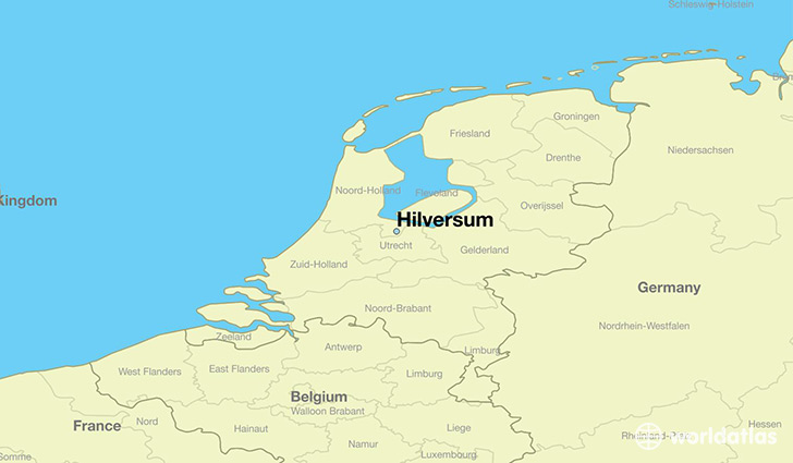 map showing the location of Hilversum