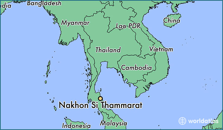 map showing the location of Nakhon Si Thammarat