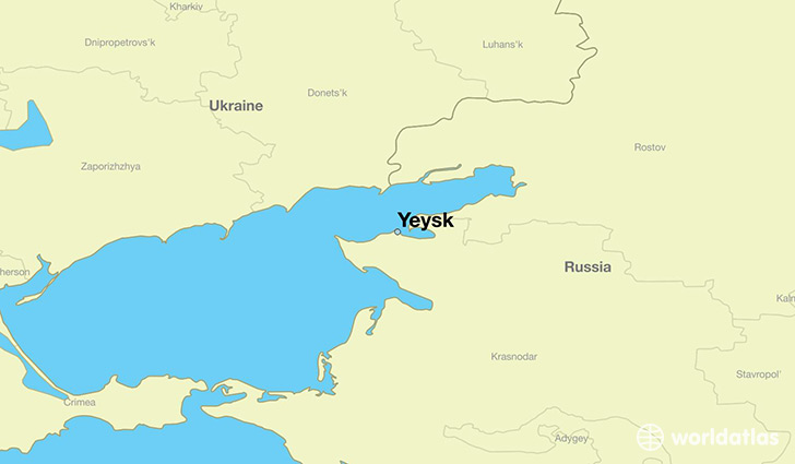 map showing the location of Yeysk