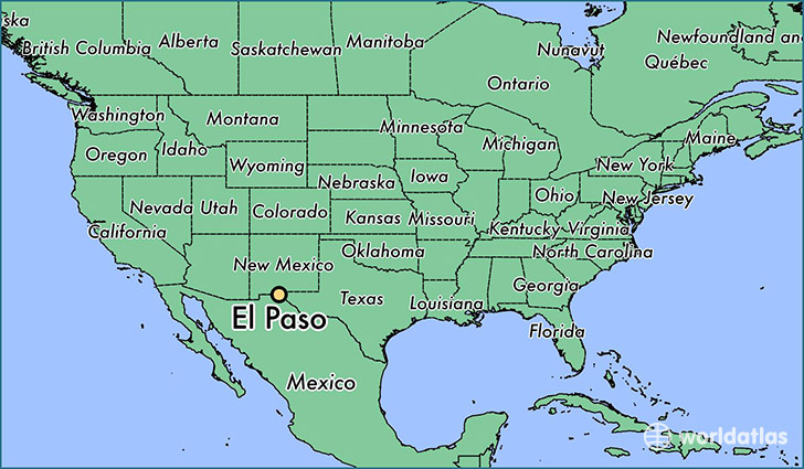 map showing the location of El Paso
