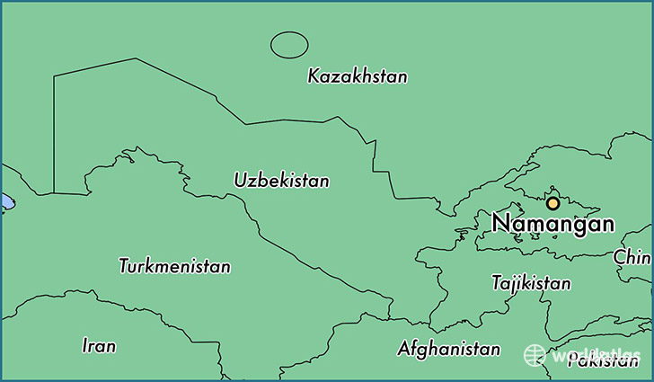map showing the location of Namangan