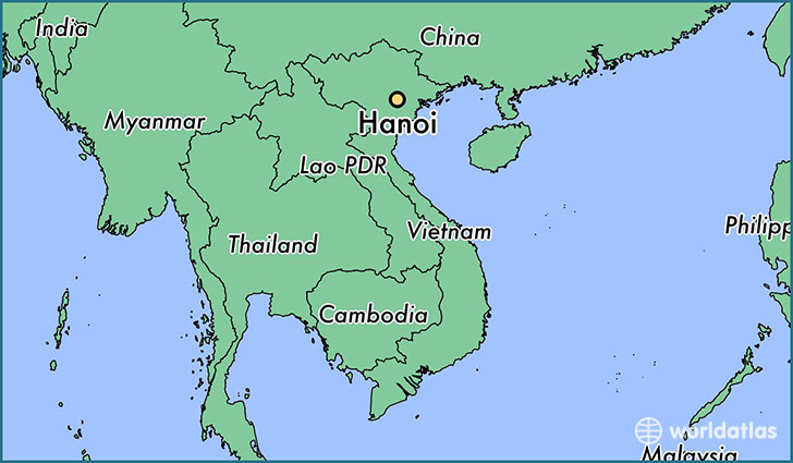 map showing the location of Hanoi
