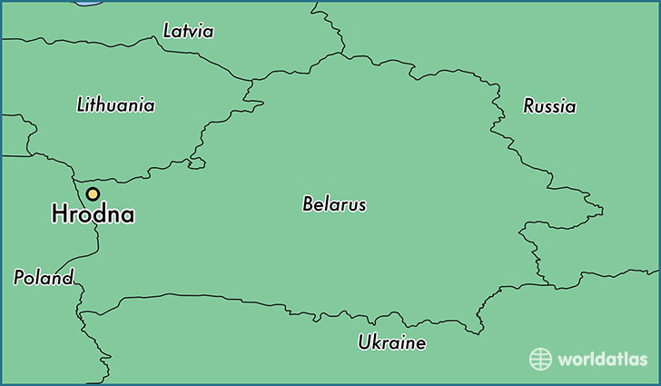 map showing the location of Hrodna