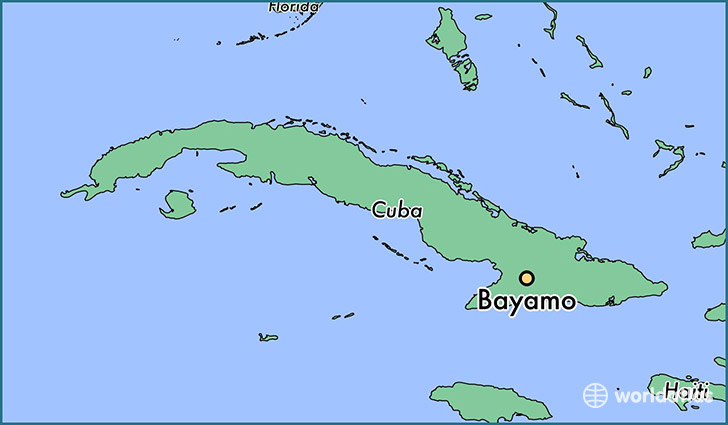 map showing the location of Bayamo