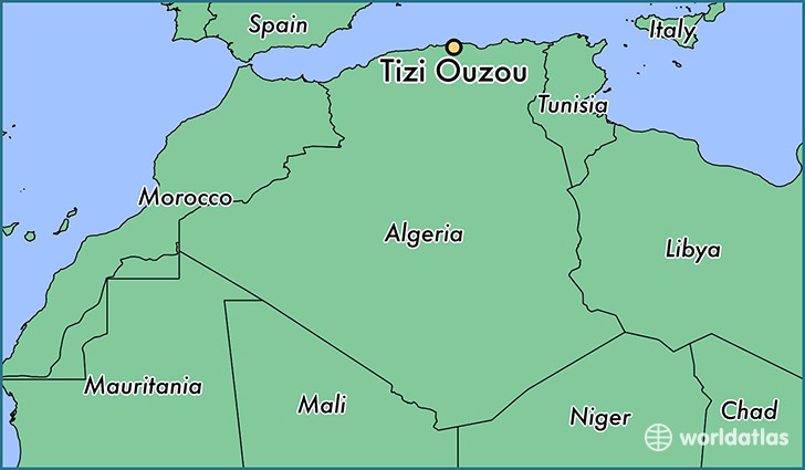 map showing the location of Tizi Ouzou