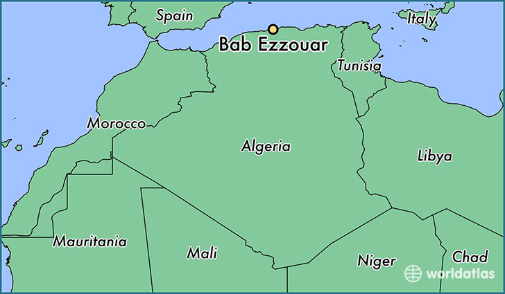 map showing the location of Bab Ezzouar